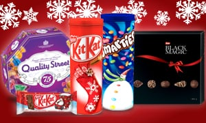 Quality Street, Kit Kat Santa, Kit Kat and Smarties Tins, Black Magic